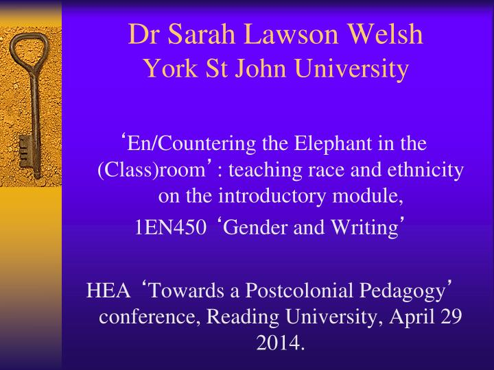 dr sarah lawson welsh york st john university n.