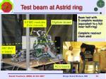 test beam at astrid ring