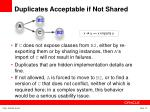 duplicates acceptable if not shared