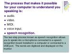 the process that makes it possible for your computer to understand you speaking is1