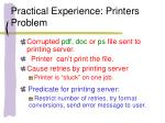 practical experience printers problem