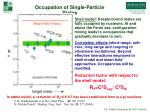 occupation of single particle states