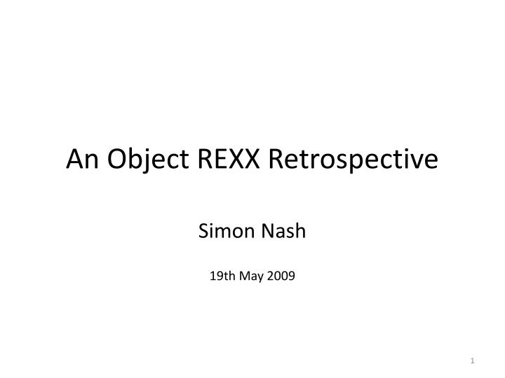 an object rexx retrospective n.