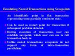 emulating nested transactions using savepoints