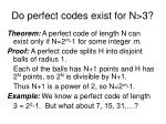 do perfect codes exist for n 3