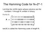 the hamming code for n 2 m 1