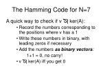 the hamming code for n 71