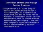 elimination of restraints through positive practices1