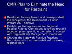 omr plan to eliminate the need for restraint1