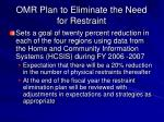 omr plan to eliminate the need for restraint2