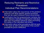 reducing restraints and restrictive procedures individual plan recommendations1
