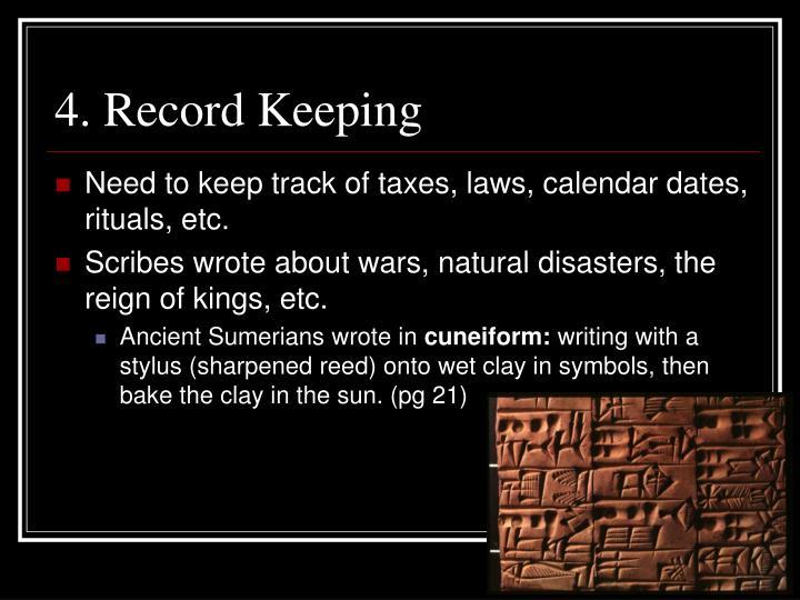 4. Record Keeping