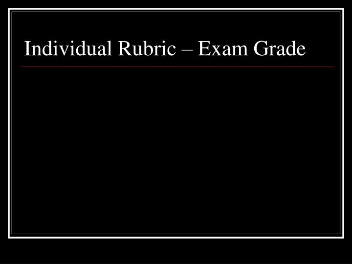 Individual Rubric – Exam Grade
