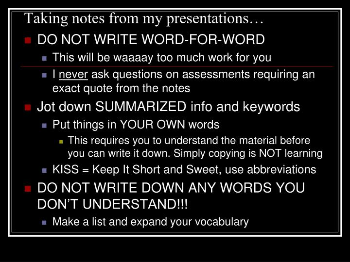 Taking notes from my presentations