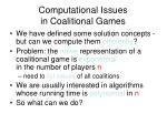 computational issues in coalitional games
