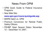 news from opm