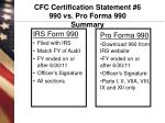 cfc certification statement 6 990 vs pro forma 990 summary
