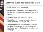 common automated validation errors