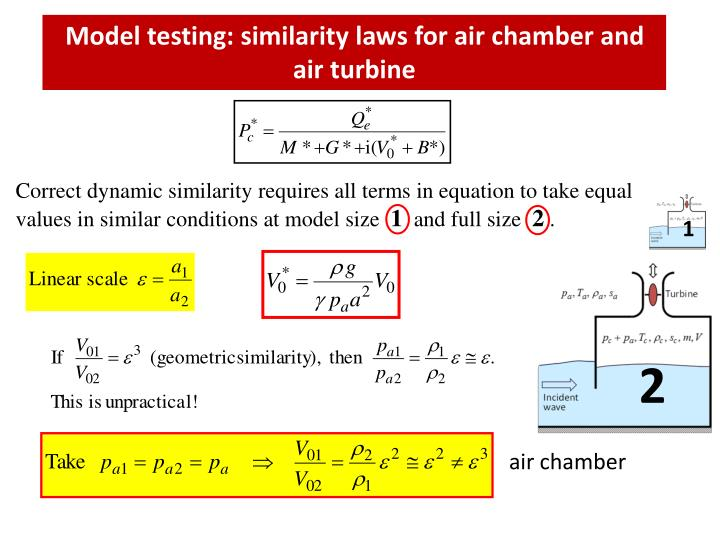Model testing: similarity laws for air chamber and air turbine