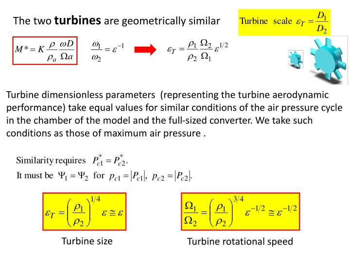 Turbine dimensionless parameters  (representing the turbine aerodynamic performance) take equal values for similar conditions of the air pressure cycle in the chamber of the model and the full-sized converter. We take such conditions as those of maximum air pressure .