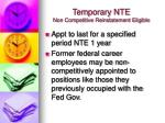 temporary nte non competitive reinstatement eligible