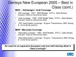 genisys new european 2005 best in class cont