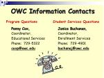 owc information contacts