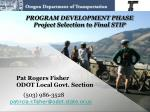 program development phase project selection to final stip