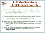 published data from cbo initiated projects