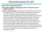 caa authorization for otc