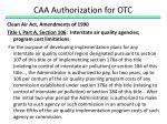 caa authorization for otc2