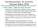 caa requirements for an ozone transport region otr1