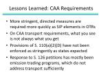 lessons learned caa requirements