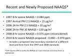 recent and newly proposed naaqs