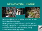 data analyses habitat