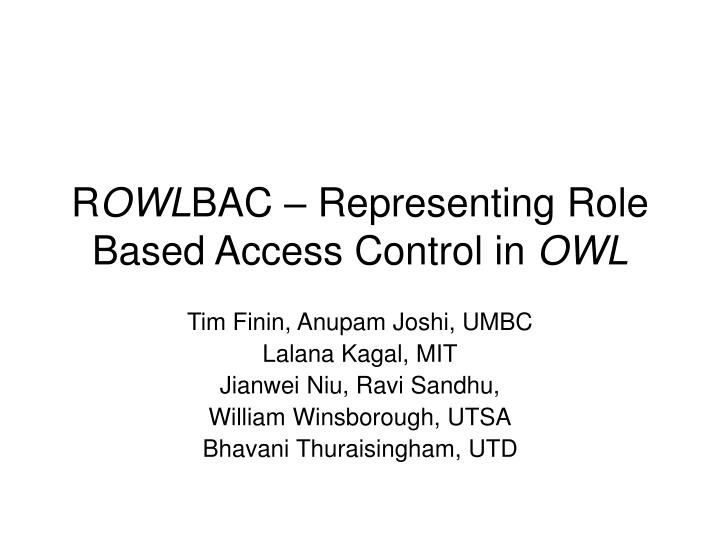 r owl bac representing role based access control in owl n.