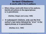 in text citations a work with 3 to 5 authors