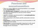 functions and neurontransmitters