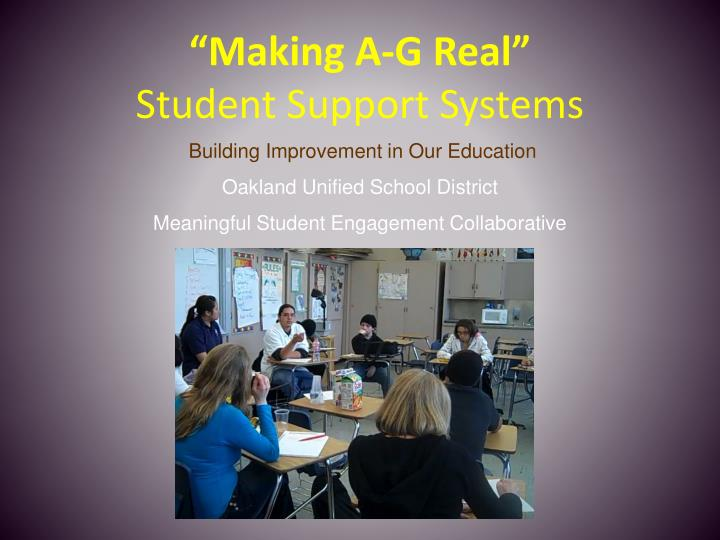 making a g real student support systems n.