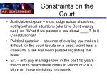 constraints on the court