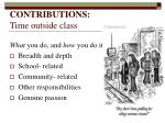 contributions time outside class