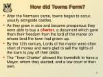 how did towns form