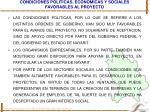 condiciones politicas economicas y sociales favorables al proyecto