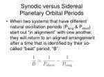 synodic versus sidereal planetary orbital periods