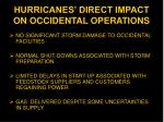 hurricanes direct impact on occidental operations