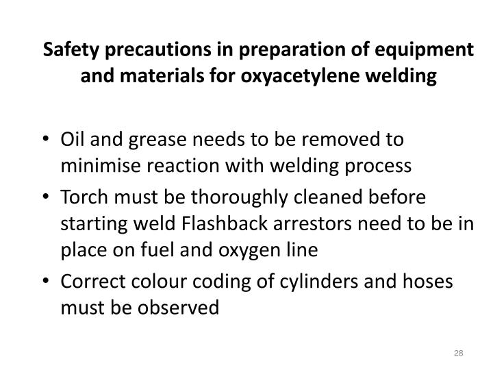 Safety precautions in preparation of equipment and materials for oxyacetylene welding