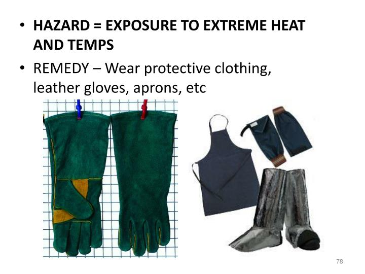 HAZARD = EXPOSURE TO EXTREME HEAT AND TEMPS