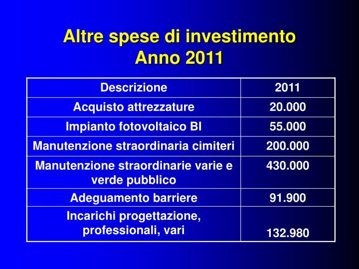 Altre spese di investimento