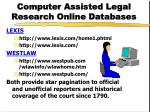 computer assisted legal research online databases