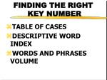 finding the right key number
